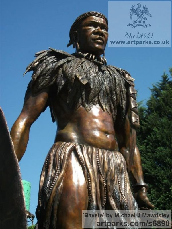 Bronze Male Men Youths Masculine sculpturettes figurines sculpture by sculptor Michael J Mawdsley titled: 'Bayete (Life-Size bronze statue Commission of King Mzilikazi)' - Artwork View 2