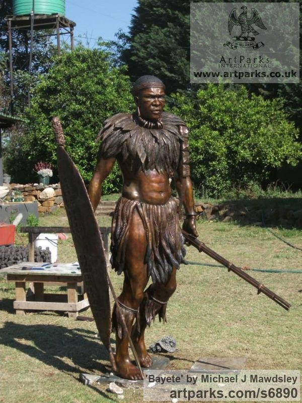 Bronze Male Men Youths Masculine sculpturettes figurines sculpture by sculptor Michael J Mawdsley titled: 'Bayete (Life-Size bronze statue Commission of King Mzilikazi)' - Artwork View 4