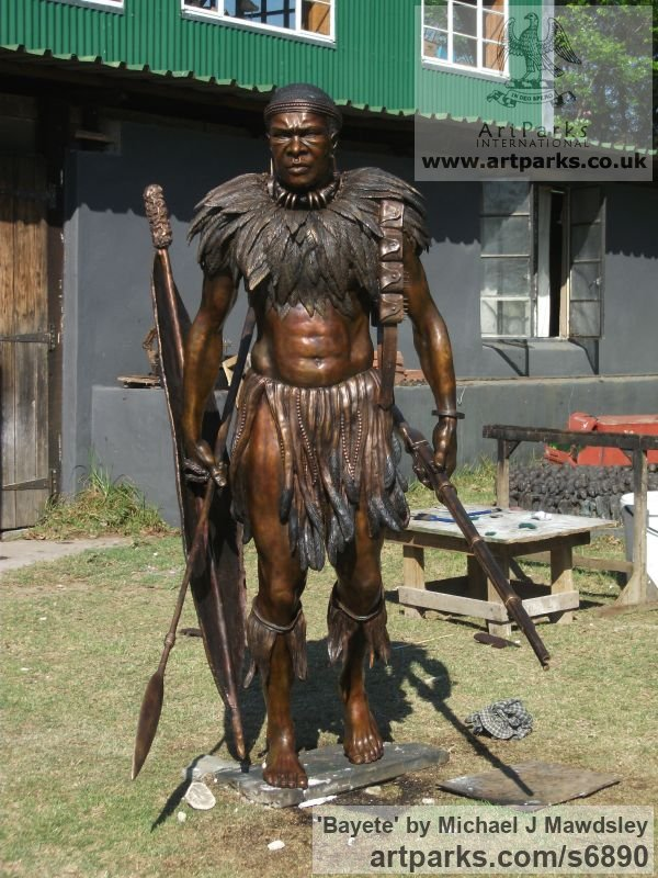 Bronze Male Men Youths Masculine sculpturettes figurines sculpture by sculptor Michael J Mawdsley titled: 'Bayete (Life-Size bronze statue Commission of King Mzilikazi)' - Artwork View 5