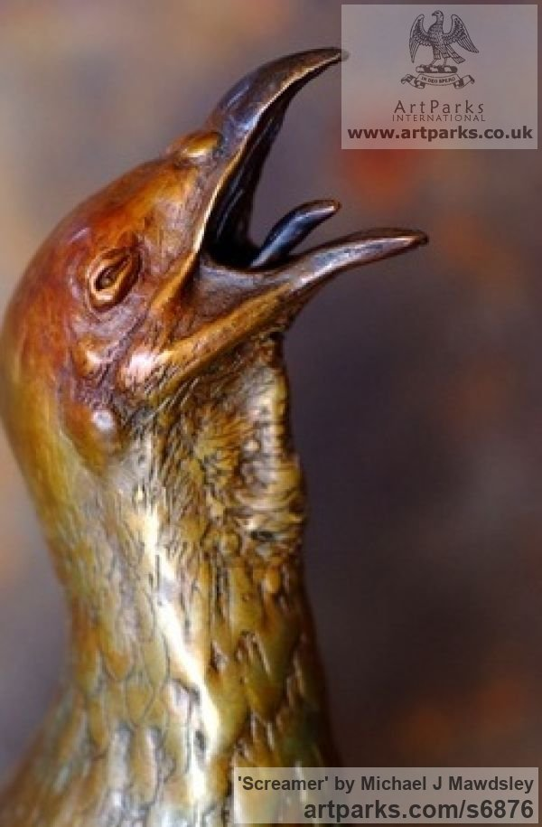 Bronze Varietal Mix of Bird Sculptures or sculpture by sculptor Michael J Mawdsley titled: 'Screamer (Bronze Swainson`s Francolin Spurfowl Wild Bird sculpture)' - Artwork View 2