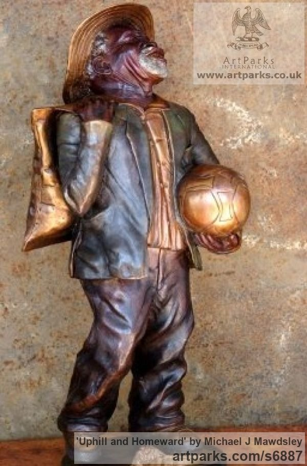 Bronze Male Men Youths Masculine sculpturettes figurines sculpture by sculptor Michael J Mawdsley titled: 'Uphill and Homeward (Bronze Old Football Supporter statue)' - Artwork View 3