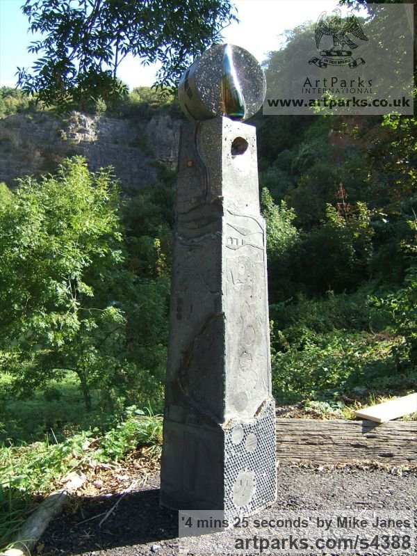 Concrete, glass and urine Garden Or Yard / Outside and Outdoor sculpture by sculptor Mike Janes titled: '4 mins 25 seconds (abstract Concrete Dial Shaped sculptures)' - Artwork View 5