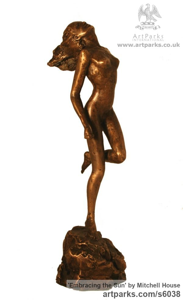 Bronze Females Women Girls Ladies sculpture statuettes figurines sculpture by sculptor Mitchell House titled: 'Embracing the Sun (Bronze Dancing Naked nude Girl Running statues)' - Artwork View 4