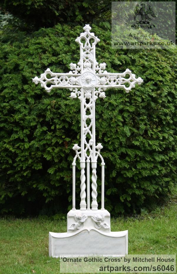 Bronze,Iron, Aluminium Commission and Custom and Bespoke sculpture sculpture by sculptor Mitchell House titled: 'Ornate Gothic Cross (Grave marker Grave `Stone` statue)' - Artwork View 1