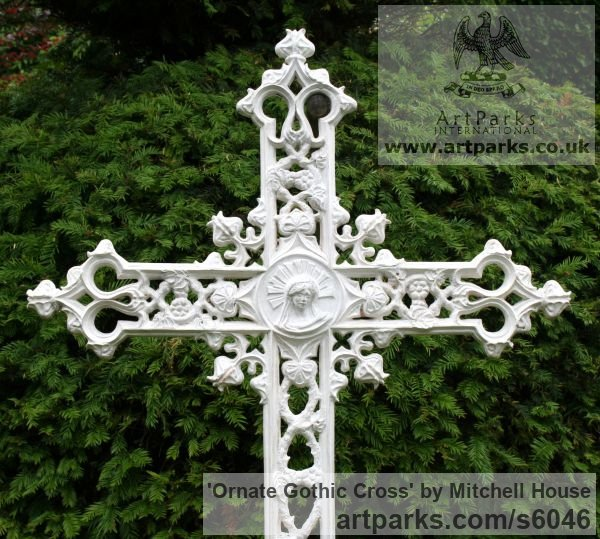 Bronze,Iron, Aluminium Commission and Custom and Bespoke sculpture sculpture by sculptor Mitchell House titled: 'Ornate Gothic Cross (Grave marker Grave `Stone` statue)' - Artwork View 3