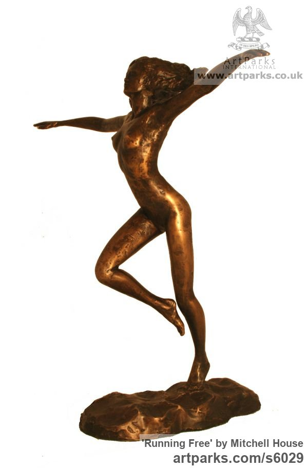 Bronze Females Women Girls Ladies sculpture statuettes figurines sculpture by sculptor Mitchell House titled: 'Running Free (small Frolicking nude Girl statues)'