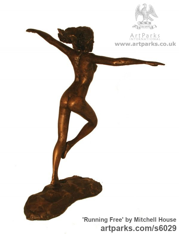 Bronze Females Women Girls Ladies sculpture statuettes figurines sculpture by sculptor Mitchell House titled: 'Running Free (small Frolicking nude Girl statues)' - Artwork View 3