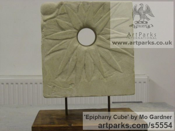 Ancaster Stone Abstract Contemporary Modern Outdoor Outside Garden / Yard sculpture statuary sculpture by sculptor Mo Gardner titled: 'Epiphany Cube (Carved stone Floral Low Relief statues)' - Artwork View 2