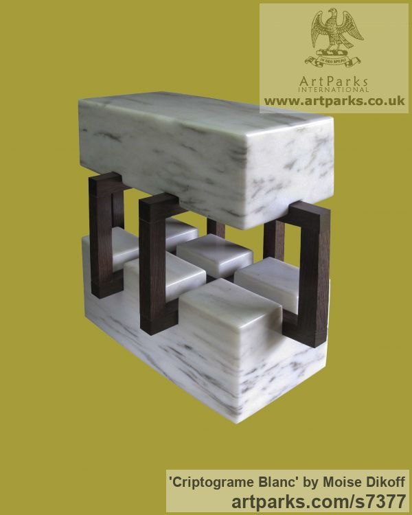 Wood, stones Square Rectangular Cube shaped Abstract sculpture sculpture by sculptor Moise Dikoff titled: 'Criptograme Blanc (Contemporary Indoor stone sculpture)'