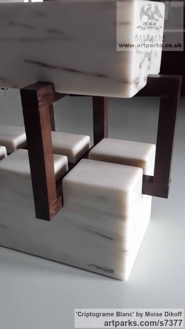 Wood, stones Square Rectangular Cube shaped Abstract sculpture sculpture by sculptor Moise Dikoff titled: 'Criptograme Blanc (Contemporary Indoor stone sculpture)' - Artwork View 3