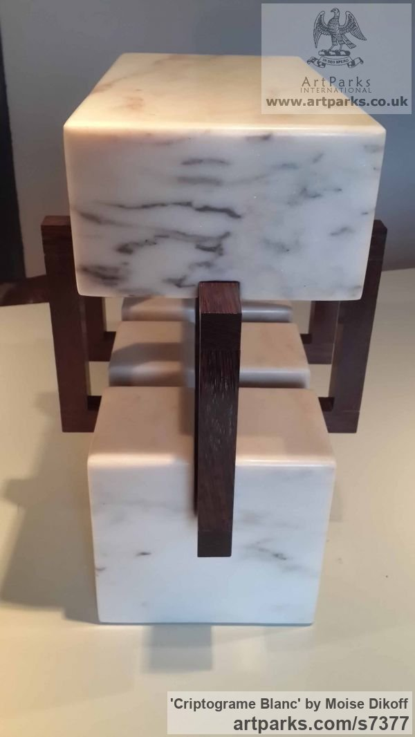 Wood, stones Square Rectangular Cube shaped Abstract sculpture sculpture by sculptor Moise Dikoff titled: 'Criptograme Blanc (Contemporary Indoor stone sculpture)' - Artwork View 4