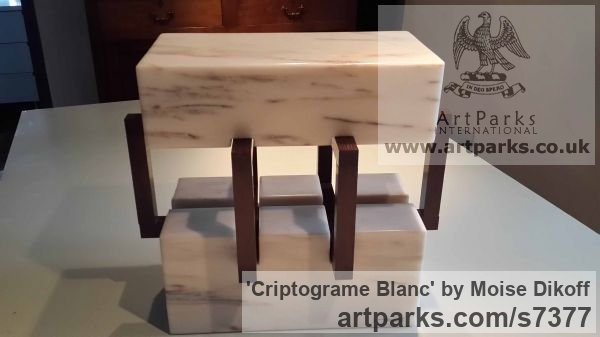 Wood, stones Square Rectangular Cube shaped Abstract sculpture sculpture by sculptor Moise Dikoff titled: 'Criptograme Blanc (Contemporary Indoor stone sculpture)' - Artwork View 5