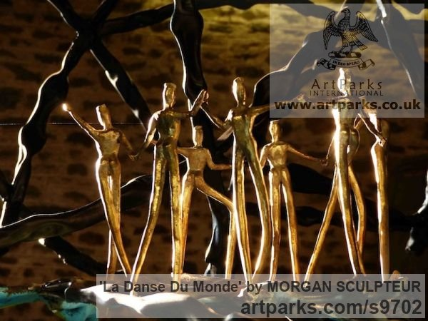 Bronze steel Abstract Contemporary Modern Outdoor Outside Garden / Yard sculpture statuary sculpture by sculptor MORGAN SCULPTEUR titled: 'La Danse du Monde (Symbolic World Peace sculpture)' - Artwork View 2