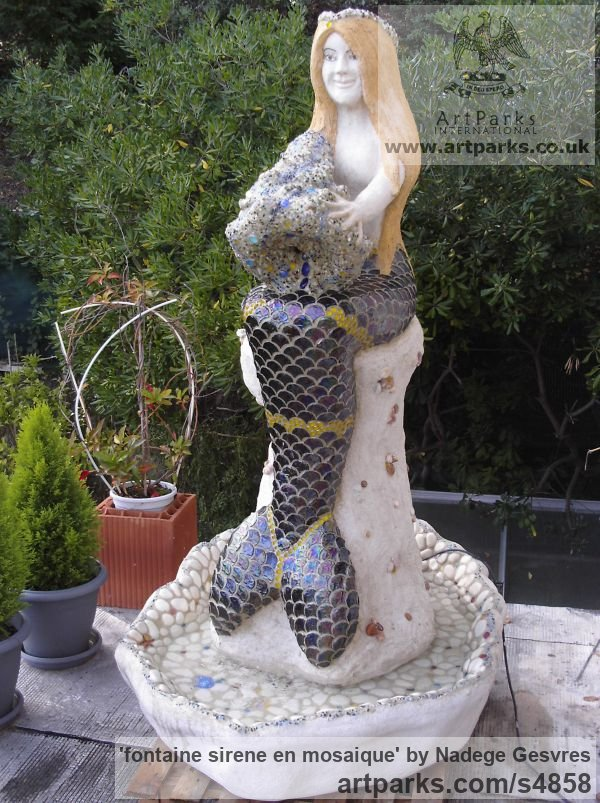 Ciment,sable,chaux, mosaique,epoxy Females Women Girls Ladies sculpture statuettes figurines sculpture by sculptor Nad�ge Gesvres titled: 'fontaine sirene en mosaique (Mosaic Mermaid Fountain Water Feature statue)'