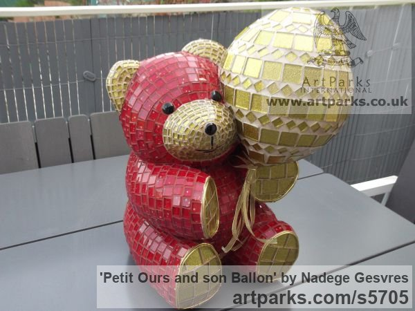 Platre Playground Art Fantasy or Cartoon sculpture by sculptor Nad�ge Gesvres titled: 'Petit ours and son ballon (Mosaic Teddy Bear Light Hearted garden statue)'
