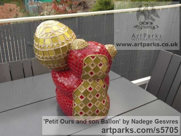 Platre Playground Art Fantasy or Cartoon sculpture by sculptor Nad�ge Gesvres titled: 'Petit ours and son ballon (Mosaic Teddy Bear Light Hearted garden statue)' - Artwork View 2