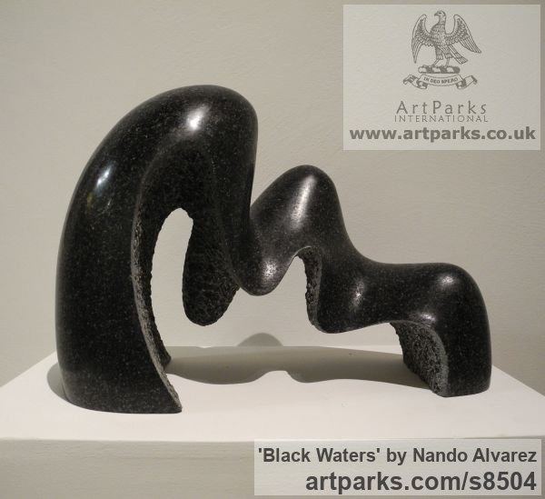 Carved black granite Abstract Contemporary Modern Civic Urban sculpture statuary sculpture by sculptor Nando Alvarez titled: 'Black waters (Modern abstract Small Wave sculpture)' - Artwork View 1
