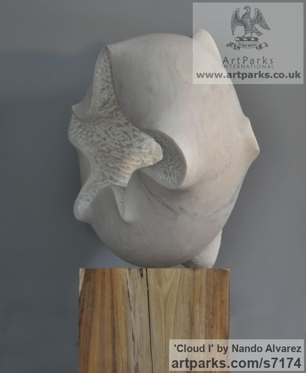 Marble sculpture with wooden base Carved Abstract Contemporary Modern sculpture carving sculpture by sculptor Nando Alvarez titled: 'Cloud I (Nube) (Carved marble ModernCircular statue)' - Artwork View 3