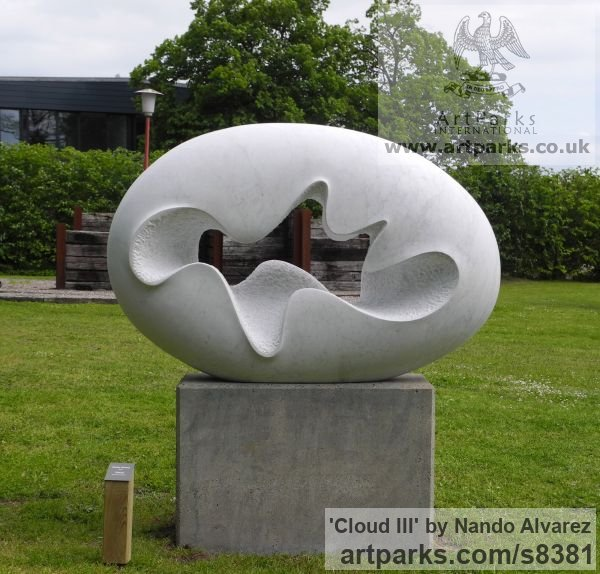 Carved Carrara marble Garden Or Yard / Outside and Outdoor sculpture by sculptor Nando Alvarez titled: 'Cloud III (Smooth Oval Minimalist Contemporary statue)' - Artwork View 1