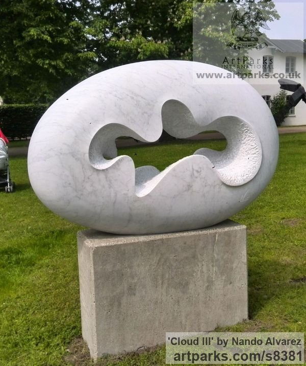 Carved Carrara marble Garden Or Yard / Outside and Outdoor sculpture by sculptor Nando Alvarez titled: 'Cloud III (Smooth Oval Minimalist Contemporary statue)' - Artwork View 2