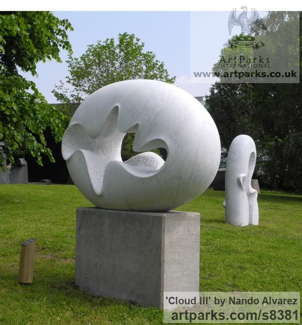 Carved Carrara marble Garden Or Yard / Outside and Outdoor sculpture by sculptor Nando Alvarez titled: 'Cloud III (Smooth Oval Minimalist Contemporary statue)' - Artwork View 4