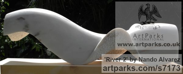 Marble sculpture Abstract Contemporary Modern Outdoor Outside Garden / Yard sculpture statuary sculpture by sculptor Nando Alvarez titled: 'River (Rio) (abstract Contemporary Carved statue)' - Artwork View 2