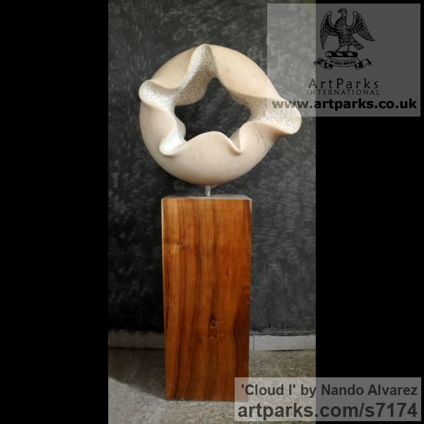 Marble sculpture with wooden base Carved Abstract Contemporary Modern sculpture carving sculpture by sculptor Nando Alvarez titled: 'Cloud I (Nube) (Carved marble ModernCircular statue)' - Artwork View 2