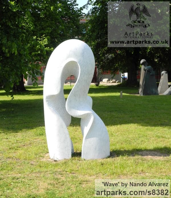 Carved Carrara marble Abstract Contemporary or Modern Outdoor Outside Exterior Garden / Yard sculpture statuary sculpture by sculptor Nando Alvarez titled: 'Wave' - Artwork View 1