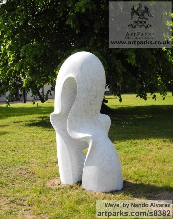 Carved Carrara marble Abstract Contemporary or Modern Outdoor Outside Exterior Garden / Yard sculpture statuary sculpture by sculptor Nando Alvarez titled: 'Wave' - Artwork View 3