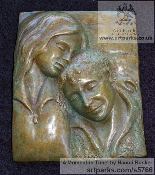Bronze Wall Mounted or Wall Hanging sculpture by sculptor Naomi Bunker titled: 'A Moment in Time (Bronze Mother and Child Bas Relief)' - Artwork View 1
