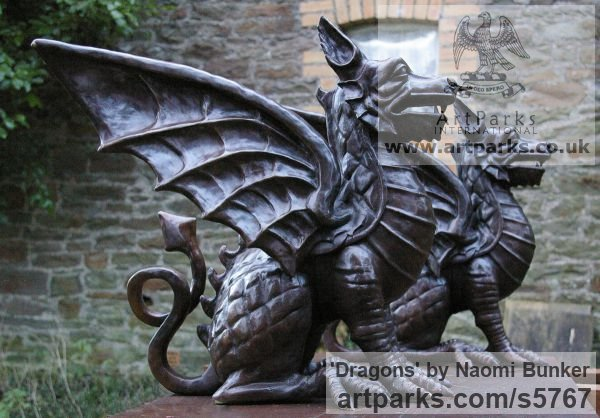 Bronze Garden Or Yard / Outside and Outdoor sculpture by sculptor Naomi Bunker titled: 'Dragons (Welsh Winged Grifon Gateposts sculptures)'