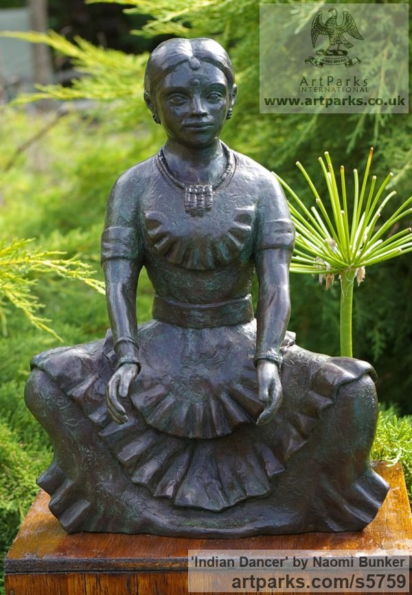 Bronze Females Women Girls Ladies sculpture statuettes figurines sculpture by sculptor Naomi Bunker titled: 'Indian Dancer (Girl Bronze in Ritual Dance Postures)' - Artwork View 1