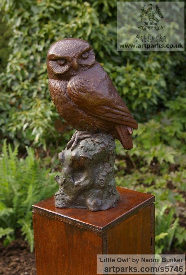 Bronze Varietal Mix of Bird Sculptures or sculpture by sculptor Naomi Bunker titled: 'Little Owl (bronze Perched on Stump sculptures)'