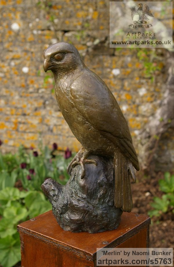 Bronze Garden Or Yard / Outside and Outdoor sculpture by sculptor Naomi Bunker titled: 'Merlin (bronze Falcon Perched on Stump sculptures)'