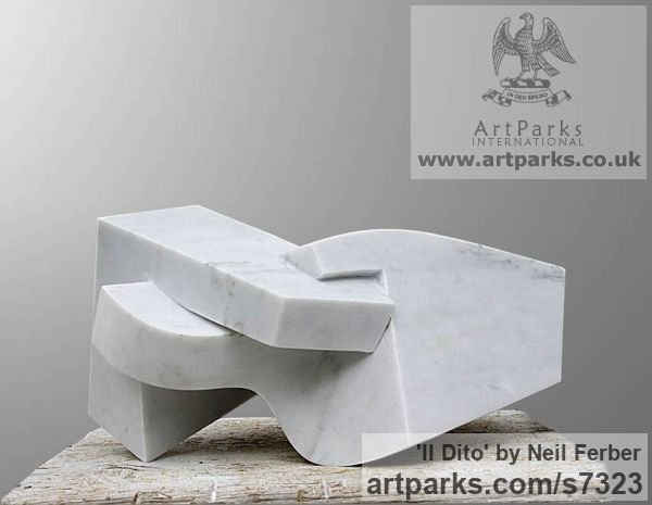 Carrara Marble Angular Abstract Modern Contemporary sculpture statuary sculpture by sculptor Neil Ferber titled: 'Il Dito (Small abstract Contemporary Carved marble statuette)'