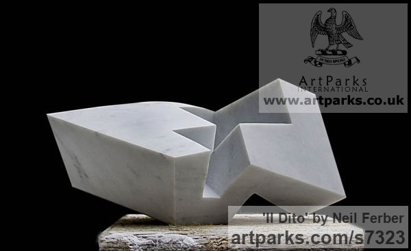 Carrara Marble Angular Abstract Modern Contemporary sculpture statuary sculpture by sculptor Neil Ferber titled: 'Il Dito (Small abstract Contemporary Carved marble statuette)' - Artwork View 2