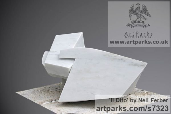 Carrara Marble Angular Abstract Modern Contemporary sculpture statuary sculpture by sculptor Neil Ferber titled: 'Il Dito (Small abstract Contemporary Carved marble statuette)' - Artwork View 3