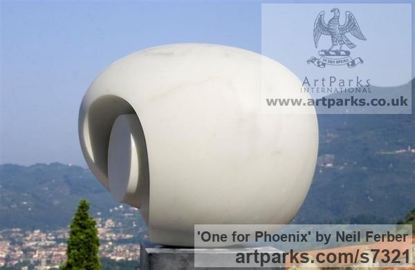 White statuario marble Abstract Contemporary Modern Outdoor Outside Garden / Yard sculpture statuary sculpture by sculptor Neil Ferber titled: 'ONE FOR PHOENIX (Minimalist Shellike abstract Carved stone statuette)' - Artwork View 4