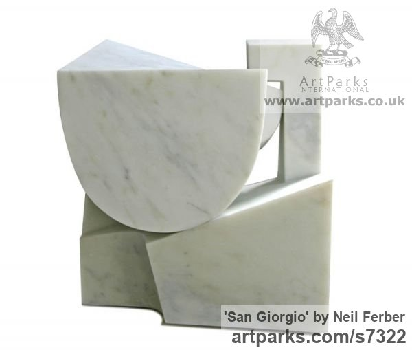 Carrara marble Carved Abstract Contemporary Modern sculpture carving sculpture by sculptor Neil Ferber titled: 'San Giorgio (Homage to Palladio Contemporary abstract statue Carving)' - Artwork View 3