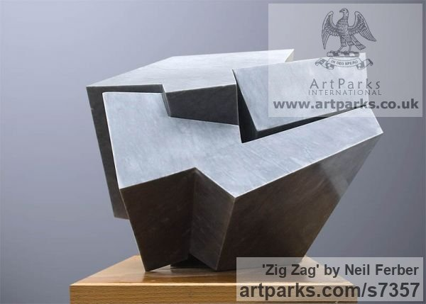 Bardiglio Marble Abstract Contemporary or Modern Outdoor Outside Exterior Garden / Yard sculpture statuary sculpture by sculptor Neil Ferber titled: 'ZIG ZAG (Contemporary abstract Carved marble Grey Angular statue)'