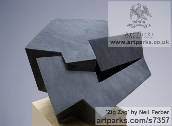 Bardiglio Marble Abstract Contemporary or Modern Outdoor Outside Exterior Garden / Yard sculpture statuary sculpture by sculptor Neil Ferber titled: 'ZIG ZAG (Contemporary abstract Carved marble Grey Angular statue)' - Artwork View 2