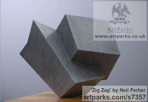 Bardiglio Marble Abstract Contemporary or Modern Outdoor Outside Exterior Garden / Yard sculpture statuary sculpture by sculptor Neil Ferber titled: 'ZIG ZAG (Contemporary abstract Carved marble Grey Angular statue)' - Artwork View 3