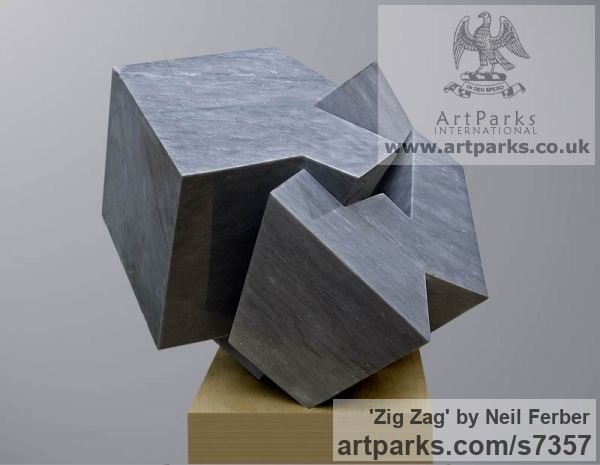 Bardiglio Marble Abstract Contemporary or Modern Outdoor Outside Exterior Garden / Yard sculpture statuary sculpture by sculptor Neil Ferber titled: 'ZIG ZAG (Contemporary abstract Carved marble Grey Angular statue)' - Artwork View 4