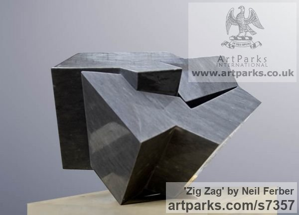 Bardiglio Marble Abstract Contemporary or Modern Outdoor Outside Exterior Garden / Yard sculpture statuary sculpture by sculptor Neil Ferber titled: 'ZIG ZAG (Contemporary abstract Carved marble Grey Angular statue)' - Artwork View 5