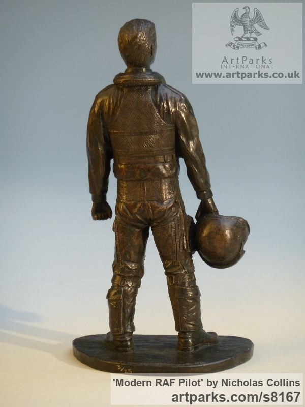 Bronze Resin Male Men Youths Masculine sculpturettes figurines sculpture by sculptor Nicholas Collins titled: 'Modern RAF Pilot (jet Fighter in Flying Suit statue)' - Artwork View 2