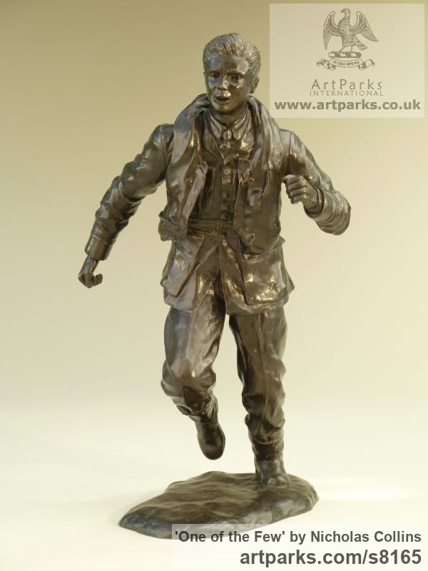 Bronze Resin Male Men Youths Masculine sculpturettes figurines sculpture by sculptor Nicholas Collins titled: 'One of the Few (Battle of Britain Pilot statuette)'