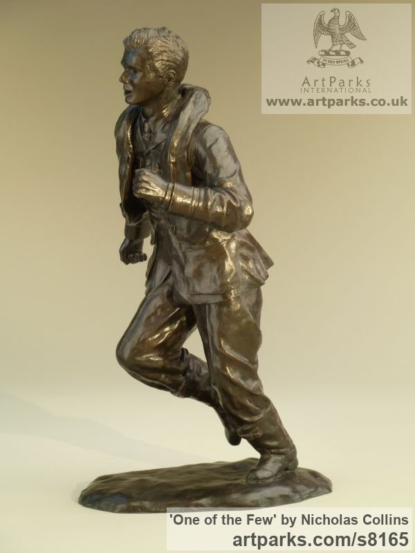 Bronze Resin Male Men Youths Masculine sculpturettes figurines sculpture by sculptor Nicholas Collins titled: 'One of the Few (Battle of Britain Pilot statuette)' - Artwork View 2