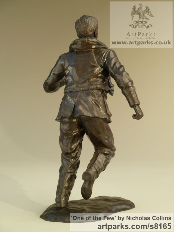 Bronze Resin Male Men Youths Masculine sculpturettes figurines sculpture by sculptor Nicholas Collins titled: 'One of the Few (Battle of Britain Pilot statuette)' - Artwork View 3