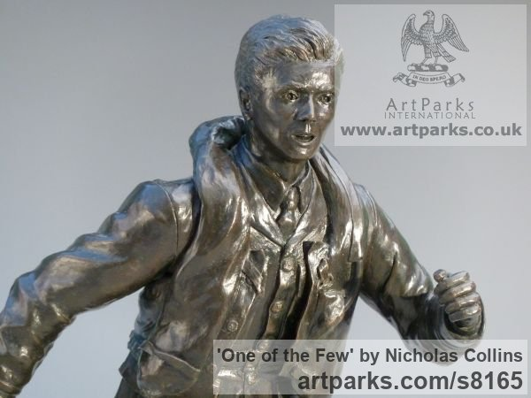 Bronze Resin Male Men Youths Masculine sculpturettes figurines sculpture by sculptor Nicholas Collins titled: 'One of the Few (Battle of Britain Pilot statuette)' - Artwork View 4