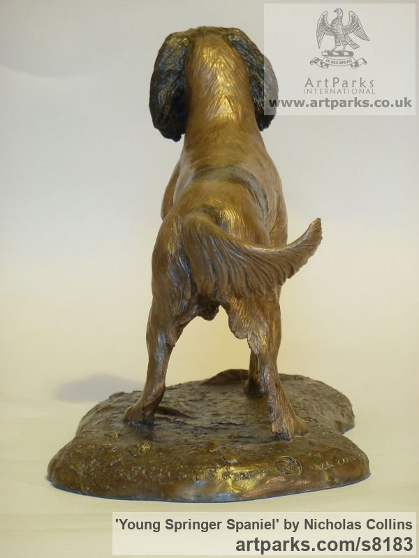 Bronze Resin Dogs sculpture by sculptor Nicholas Collins titled: 'Young Springer Spaniel (Little Gun Dog statues)' - Artwork View 3